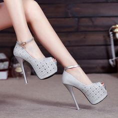 Shinning Sequins Ankle Wrap Open Toe Platform Super Stiletto High Heels Sandals – Newbabychic - Touching and Emotional Image High Heels Outfit, Platform High Heels, Black High Heels, High Heels Stilettos, High Heel Boots, Heeled Boots, Stiletto Heels, Shoes Heels, Heeled Sandals