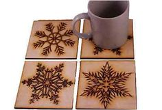 Christmas Drinks Coasters  Snowflake Design. Vintage style. Wooden set of 4 gift