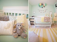 mint & yellow nursery, I really love the pompoms