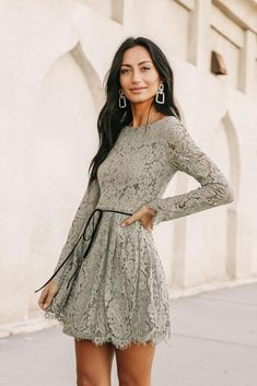 Marissa Lace Dress in Sage – böhme Fall Formal Dresses, Hoco Dresses, Tight Dresses, Dresses With Sleeves, Stylish Dresses, Dress Outfits, Cool Outfits, Fashion Outfits, Fall Wedding Outfits