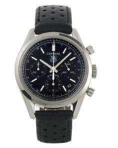Original Tag Heuer Carrera Chronograph Classic CV2111 FC6182 Men's Black Watch | eBay