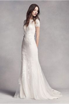 White by Vera Wang Twill Gazar Lace Wedding Dress - Davids Bridal