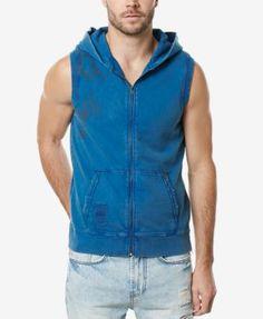 Buffalo David Bitton Men's Graphic-Print Sleeveless Zip-Up Cotton Sweatshirt | macys.com