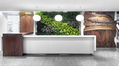 OFS Brands | Green wall, waterfall, materials, reception desk