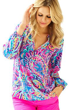 Lilly Pulitzer Elsa Top in Psychedelic Sunshine