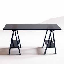 mesa cavalete escrit rio de madeira em laca branco casatema mesas para computador e. Black Bedroom Furniture Sets. Home Design Ideas