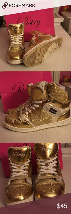 Shoes Gold Sparkly Pastry Hightops with white accents, worn a couple times, denim stains on the inside Pastry Shoes Sneakers