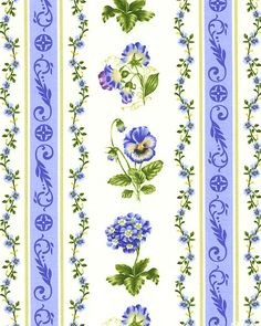 Botanical Blues - Sweet Spring Stripe - Eggshell  I'll print this as stickers for my planner