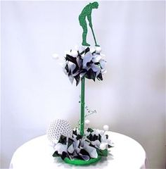 DIY Centerpiece Kits for Your Golf Theme Party or Event. You can purchase golf theme supplies for your gift baskets, bows, and Bat Mitzvah table decorations Golf Table Decorations, Bar Mitzvah Centerpieces, Sports Centerpieces, Candle Centerpieces, Wedding Centerpieces, Golf Theme, Golf Party, Funeral Flowers, Party Themes