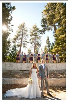 The wedding party: eggplant purple bridesmaid dresses and gray tuxedos + sweetheart sparkly lace wedding dress with train