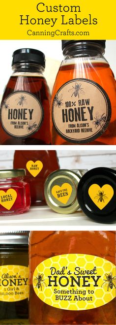 Custom Honey labels are a great gift for backyard beekeepers. These custom honey labels are printed with YOUR name, type of honey, contact info, or size. CanningCrafts.com