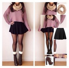 """""""OOTD: Purple sweater and skater skirt, tumblr inspired outfit."""" by selenurrmauhrie ❤ liked on Polyvore"""