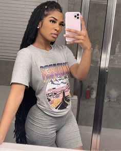 Jurllyshe Fashion Casual Letter Print Round Neck Shirt With Shorts Set. Shop the range of women clothes today at AfricanMall. Express delivery available. Order now. Cute Swag Outfits, Chill Outfits, Dope Outfits, Fashion Outfits, Fashion Pants, Swag Fashion, Fashion Trends, Black Girl Fashion, Look Fashion