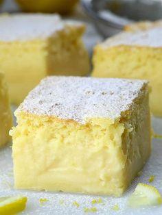 Vanilla Magic Custard Cake, Chocolate Custard, Custard Cake Filling, Lemon Custard Pie, Lemon Tarts, Yummy Snacks, Delicious Desserts, Funnel Cakes, Biscotti