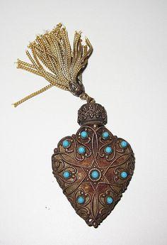 Vintage Perfume Bottle with Aqua Glass Beads