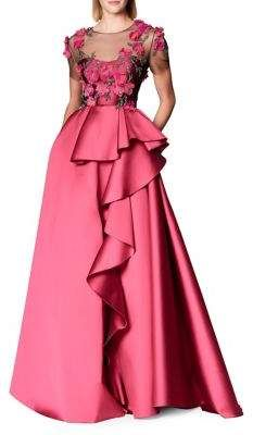Marchesa Notte Short Sleeve Fuchsia Mikado Ball Gown In Pink Floral Evening Gown, Pink Evening Gowns, Floral Gown, Pink Gowns, Hijab Dress Party, Party Wear Dresses, Pink Ruffle Dress, Embellished Gown, African Fashion Dresses