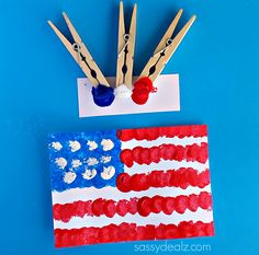 Pom-Pom American Flag Painting Craft for Kids - Sassy Dealz