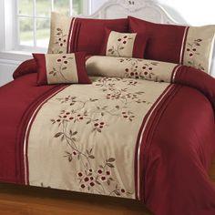 Buy Alma Wine Duvet and Pillowcase Set Bedroom Sets, Bedroom Decor, Red Bedding Sets, Designer Bed Sheets, Restoration Hardware Bedding, Black Bed Linen, Cool Curtains, Bed Duvet Covers, House Beds