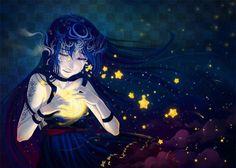 Night Goddess by Qinni (print image) Art Anime, Anime Artwork, Qinni, Anime Girl Crying, Comic Style Art, Anime Stars, Fantasy Art Women, Illustration Sketches, Female Art