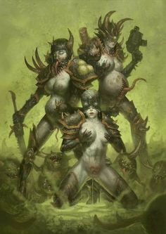 Sisters of Nurgle by DatCancer : ImaginaryWarhammer Warhammer Fantasy, Warhammer 40k Figures, Warhammer Art, Warhammer 40000, Character Art, Character Design, Creature Design, Game Art, Cool Art