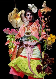 Funky Floral Collage Editorials - Eclectic Magazine Fashion Editorial by Ashkan Honavar (GALLERY)