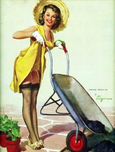 vintage pin up gardening with wheel barrow.  Gil Elvgren: spring dress up