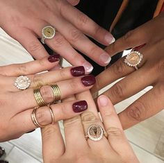 Look at all these custom rings! from Ackerman Yu San Jose Jewelers, Grad Pics, Class Ring, Congratulations, Fine Jewelry, University, Nails, Lady, Rings