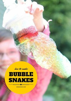 How to Make Bubble Snakes from MomAdvice.com. A simple bottle turns into a rainbow bubble maker with just a few items you have in your home. I love frugal and fun activities like this!