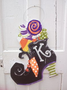 Halloween witch boot door hanger.  FREE personalization!