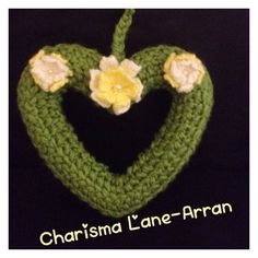 Spring Flowers Knitted Heart Wreath by CharismaLane on Etsy