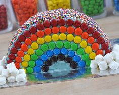A Rainbow Cake: What better way to decorate your half-birthday cake than as a ra… - Birthday Cake Easy Ideen Half Birthday Cakes, Castle Birthday Cakes, Homemade Birthday Cakes, Birthday Pies, Mary Birthday, Cake Shapes, Rainbow Birthday Party, Cake Blog, Birthday Cake Decorating