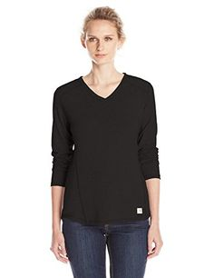 Carhartt Womens Force Long Sleeve Vneck TshirtBlackXSmall * See this great product.