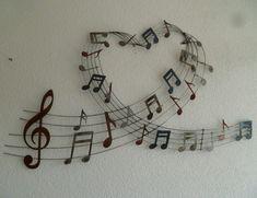 3D metalen muurdecoratie Music Love - Muziek - METALEN WANDDECORATIE Clock, Home Decor, Art, Watch, Art Background, Decoration Home, Room Decor, Kunst, Interior Design