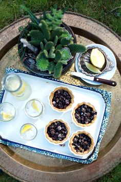 Perfect Spring Dessert, Black and Blue Tarts