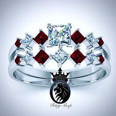 White Gold Ruby Harley Quinn Engagement Set