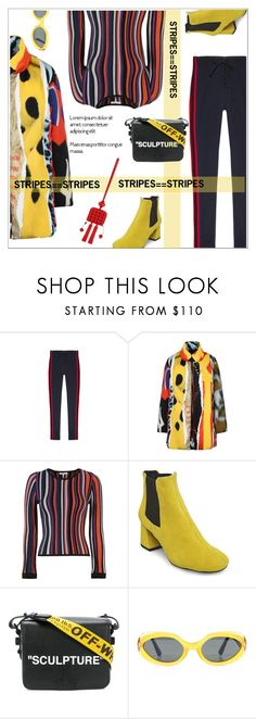 """#StripesOnStripes"" by vinograd24 ❤ liked on Polyvore featuring Yeezy by Kanye West, Moschino, Torn by Ronny Kobo, Steve Madden, Off-White, Tod's, stripesonstripes and PatternChallenge"