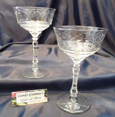 Libbey Rock Sharpe NORMANDY (3005)  Crystal Champagne Sherbet Glass set of 2 #LibbyRockSharpe