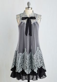 grey | cream  kawaii otome kei gyaru mori kei lolita fachin dress lace bow modcloth