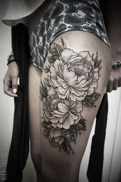 10 Black & Beautiful Peony Tattoos | Tattoodo.com