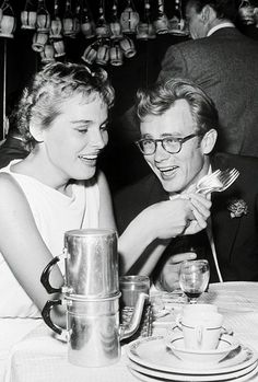 James Dean and Ursula Andress at a party for Frank Sinatra, 1955.