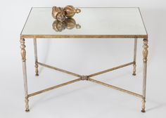 Napoleon Coffee Table   aged gold leaf finish   with antiqued mirror top