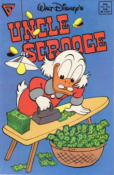 Cover for Walt Disney's Uncle Scrooge (Gladstone, 1986 series) [Newsstand] Vintage Disney Posters, Vintage Comic Books, Vintage Cartoon, Vintage Comics, Cartoon Posters, Retro Cartoons, Old Cartoons, Room Posters, Poster Wall