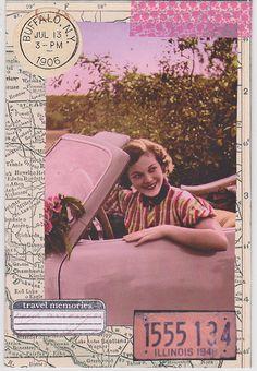 Mailart Transportation by Rosalie Ackerson, via Flickr #postcard #pink