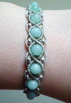 Amazonite & Sterling Silver Macrame Friendship Bracelet