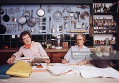 Chef Julia Child (L) and author Simone Beck pose in the kitchen of Child's house, La Pitchoune, during a photo shoot for McCall's Magazine on June 29, 1970 in Provence, the South of France.