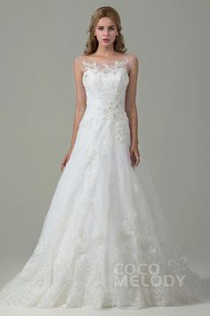 Chic A-Line Illusion Natural Train Tulle Ivory Sleeveless Zipper With Button Wedding Dress with Appliques #weddingdress #cocomelody