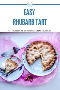 Easy Rhubarb Tart is a simple recipe for a delicious plate pie made with shortcrust pastry and a sweet rhubarb filling. Its so easy to make and popular with all the family. Serve with ice cream cream or custard Rhubarb Tart, Rhubarb Desserts, Tart Recipes, Sweet Recipes, Best Rhubarb Recipes, Shortcrust Pastry, Different Fruits, Dessert Spoons, Food Hacks