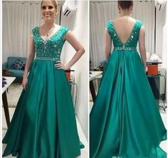Latest Teal Green Long Mother Of The Bride Dresses Fashion V Neck Wedding  Guest Dresses Beaded Satin A Line Formal Evening Dresses Gowns a5b3ff47e3a9