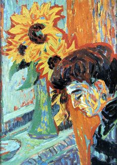 Ernst Ludwig Kirchner | Ernst Ludwig Kirchner - Woman and sunflowers