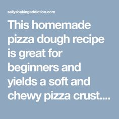 This homemade pizza dough recipe is great for beginners and yields a soft and chewy pizza crust. Skip delivery because you only need 6 ingredients to begin! Homemade Pizza Crust Recipe, Homemade Bagels, Homemade Bbq, Dough Recipe, Pizza Snacks, Pizza Recipes, Bread Recipes, Pizza Bake, Pizza Dough